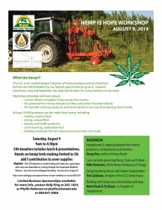 Hemp Is Hope Workshop on Maui Saturday, August 9, from 8:30am to 3pm, with a 1.5 hours hempcrete building hands-on activity from 3-4:30, at the University of Hawaii Maui College Multi-Purpose room.